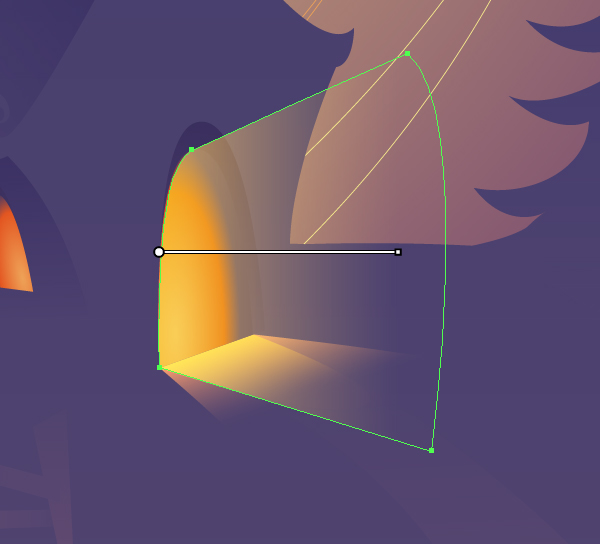 dd a conelike shape and fill it with a gradient in Screen mode