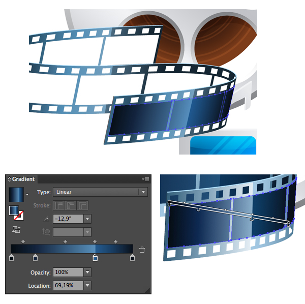 expand and color the film tape 2