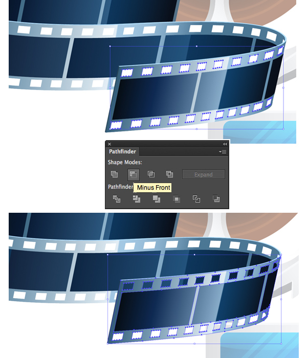cut out the squares of the film tape