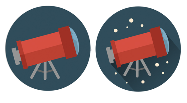finish the telescope icon by adding long shadow and stars