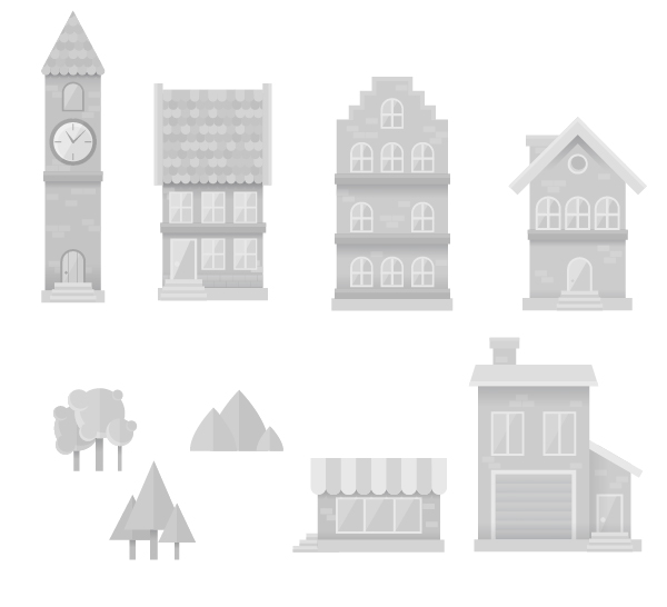 a set of cityscape elements