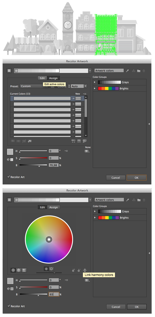 use recolor artwork tool