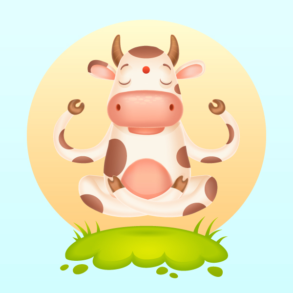 Om How To Create A Meditating Cartoon Cow In Adobe Illustrator