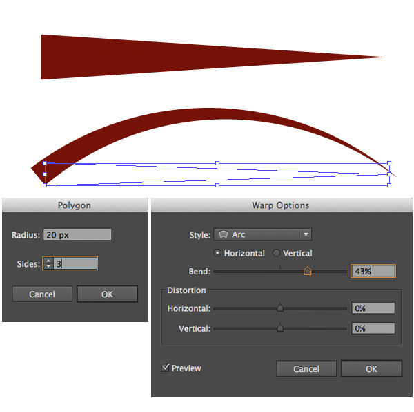 create horn notches with warp effects