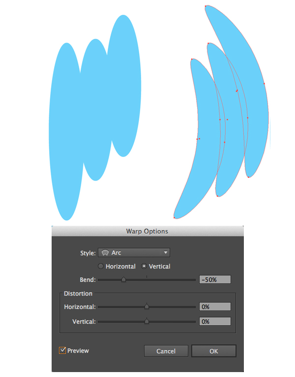 form a wing with arc effect