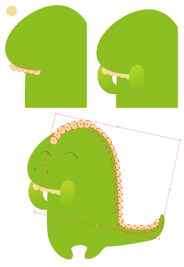 add teeth and scales with ellipse tool
