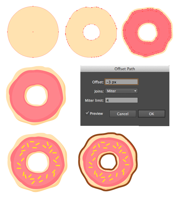 render a simple donut with ellipse tool and offset path