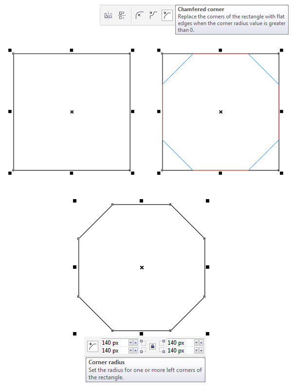 make a square base with Chamfered corners