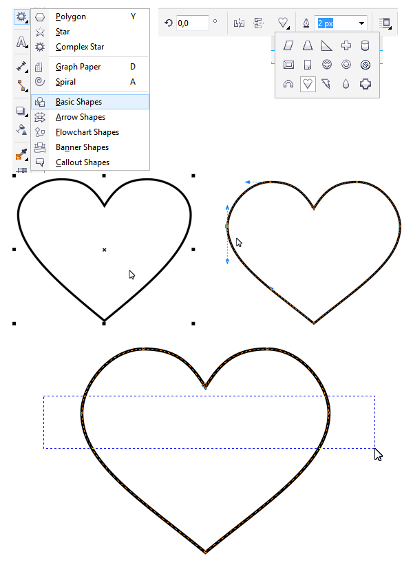 shape the heart base