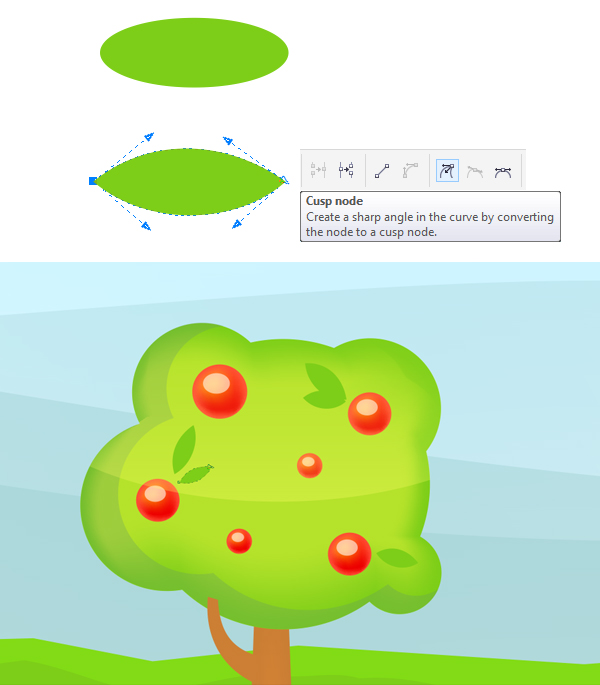 add leaves to the trees