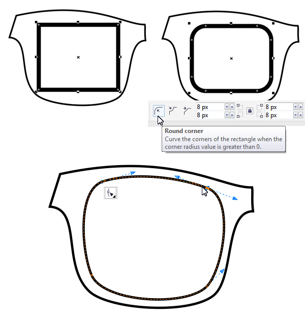 form the lens base from rectangle with rounded corners