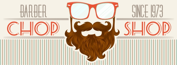 Finished hipster barbershop illustration in CorelDRAW