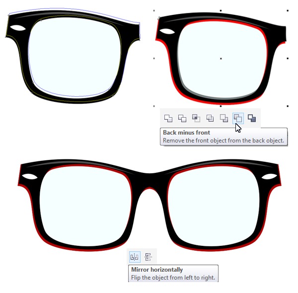 add bright outline to the rim and form the glasses