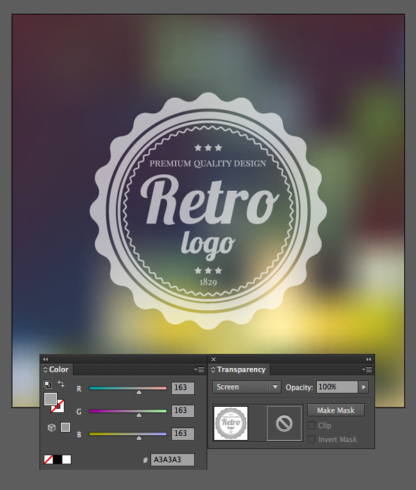 apply screen blending mode to the logo