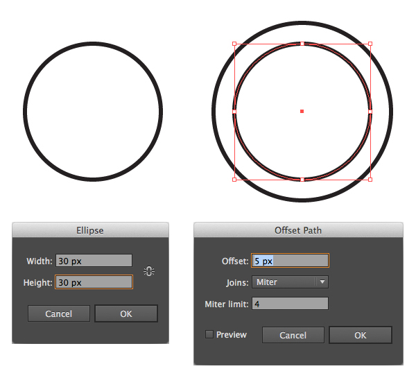 create a circle roll base with ellipse tool and offset path