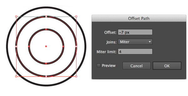 add center part with offset path