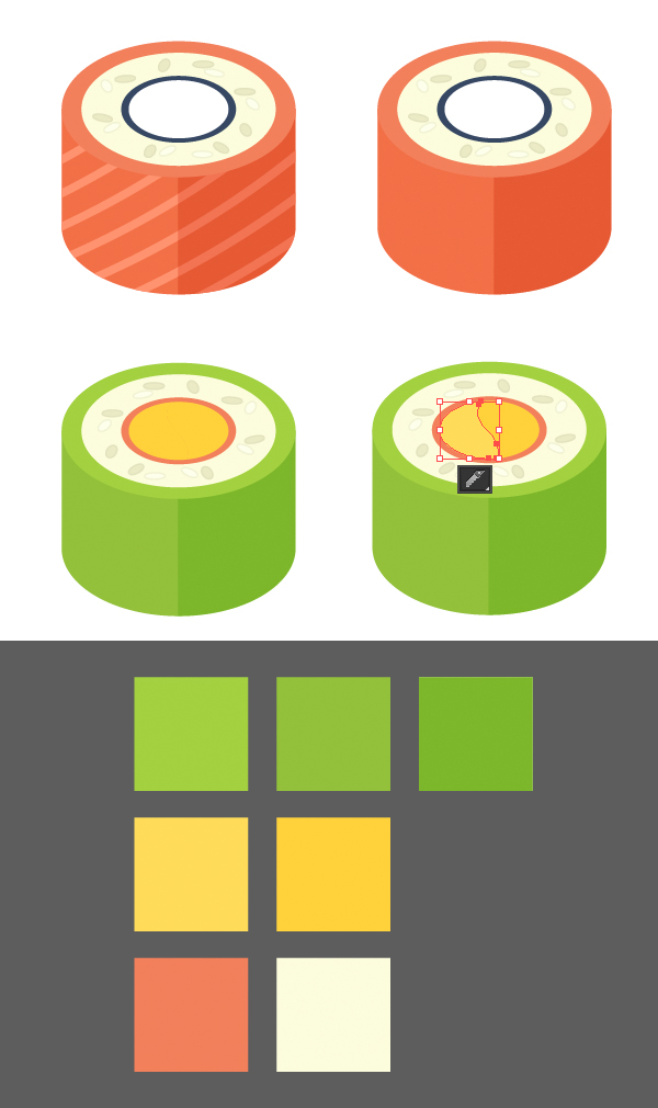 recolor the object making an avocado roll