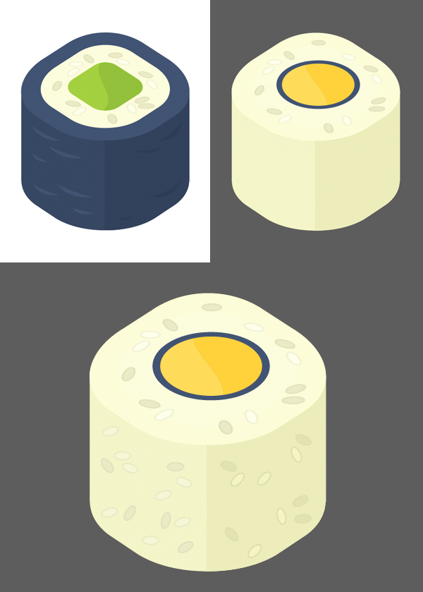 recolor the nori roll and add more rice grains