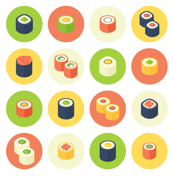 finished result with a set of rolled sushi icons set