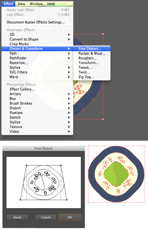 use free distort to modify the shape