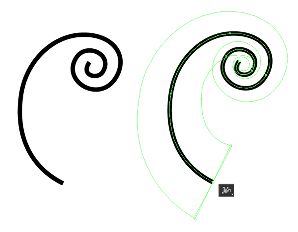 draw a curl with pencil tool and edit it with width tool
