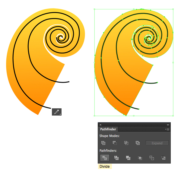 divide the spiral shape into 3 parts