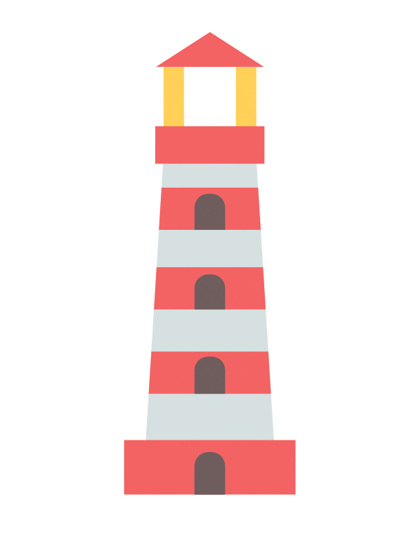 Apply the colors to all parts of our lighthouse