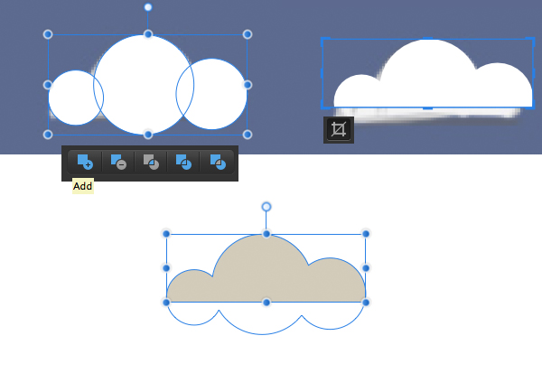 form the clouds with Vector Crop Tool