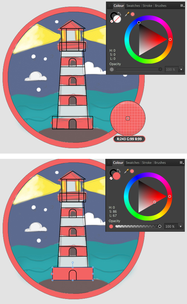 use the eyedropper from the Colour panel to apply colors