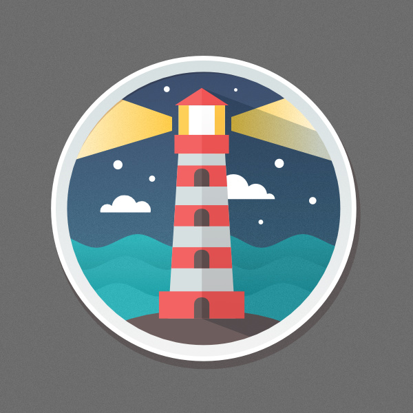 Final result Flat lighthouse icon