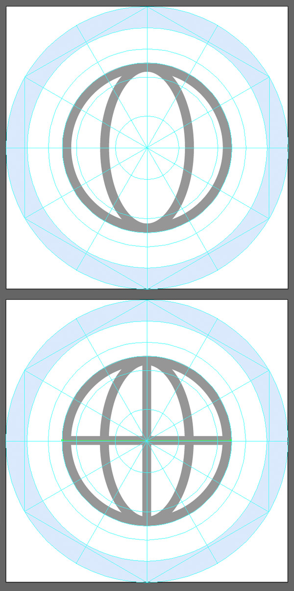 create a ring inside the base of the globe