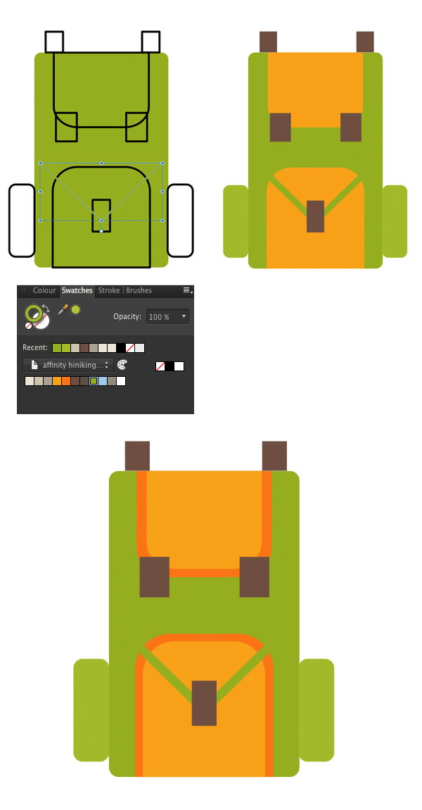 apply the colors to the backpack icon