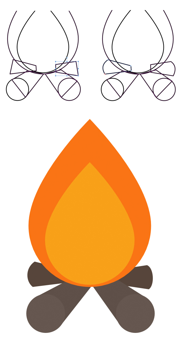 apply the colors to the campfire symbol