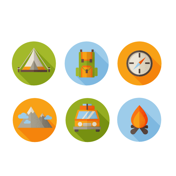 finished flat hiking icons