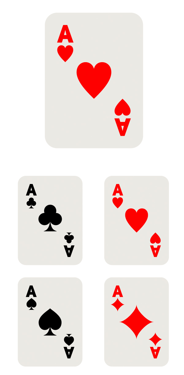 finish the playing cards with aces
