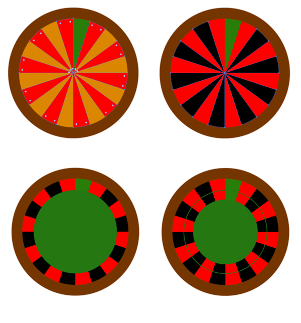 Fill the sectors of the divided circle with red and black colors