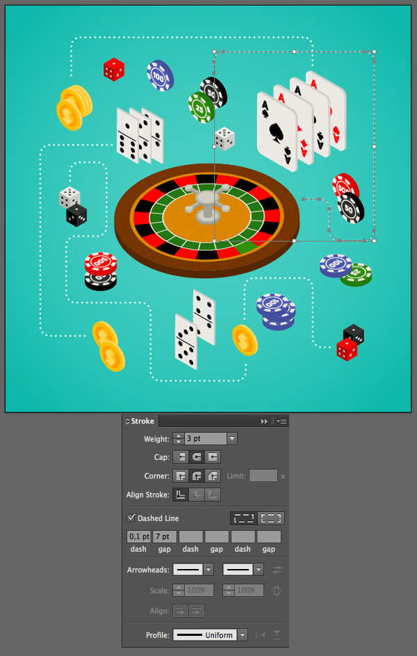 build a composition with gambling objects