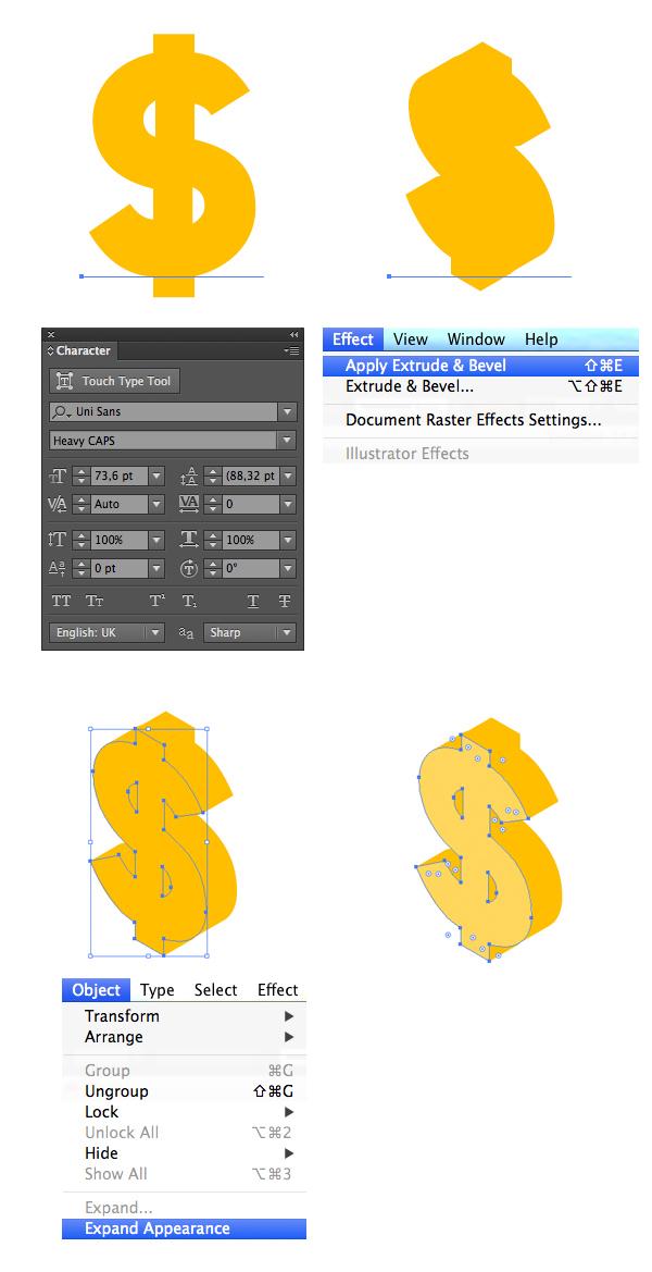 make a dollar symbol