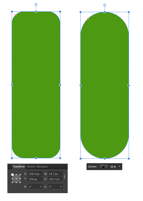 make a cucumber from a rounded rectangle