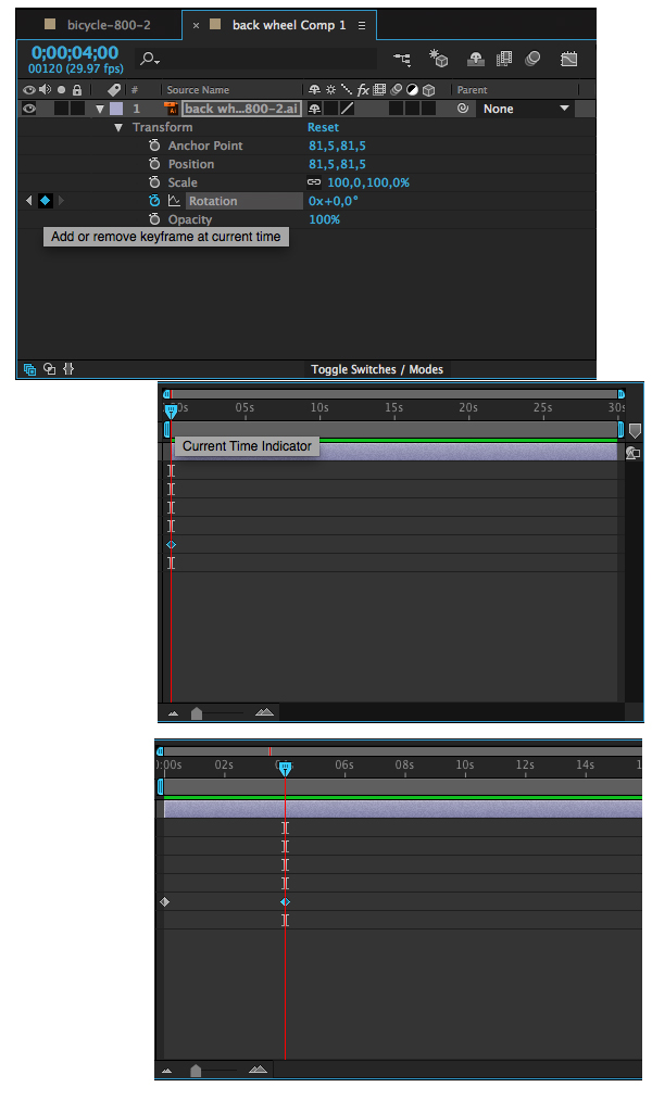 create two keyframes in the Timeline panel
