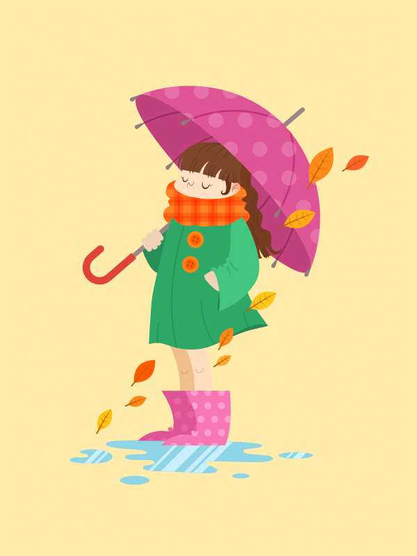 finished autumn scene with a cartoon girl in gumboots