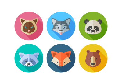 Flat animals icons 400