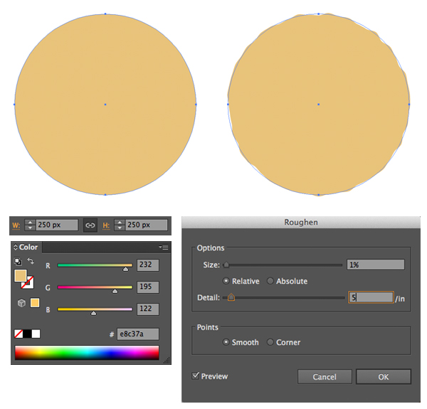 make a circle cookie base and apply Roughen effect