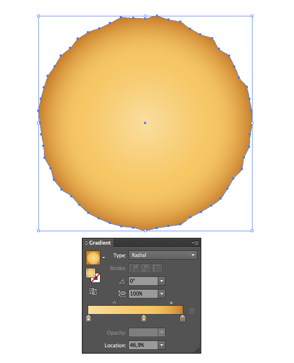 apply yellow radial gradient
