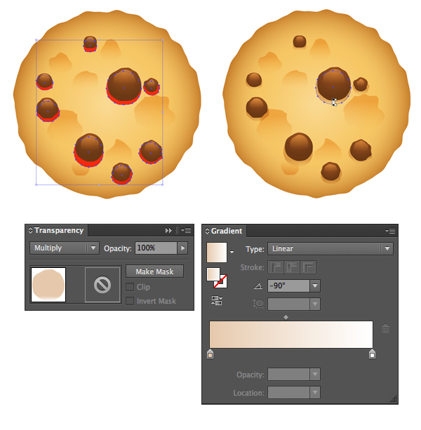 add shadows beneath the chocolate chips in multiply mode