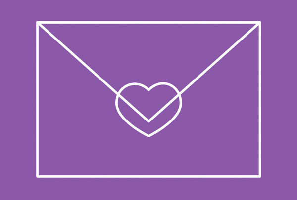 place the heart stamp in the center of the envelope
