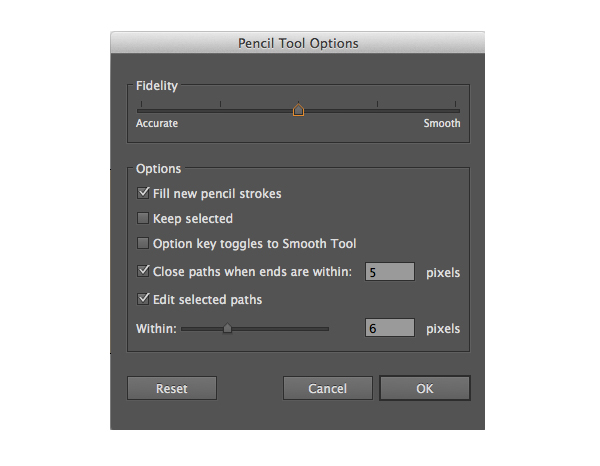 pencil tool settings