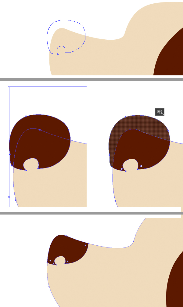 draw the nose and cut off the pieces with Shape Builder Tool
