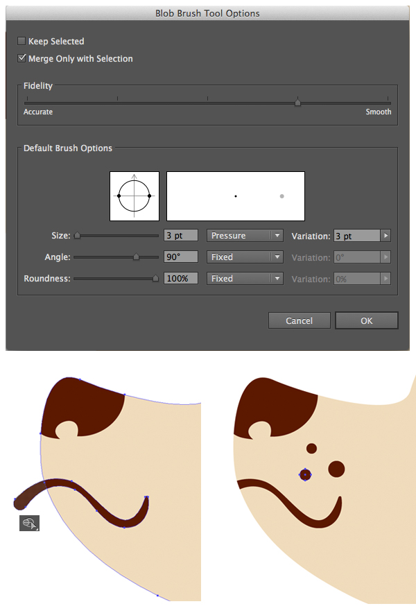 use the Blob Brush tool to form the mouth
