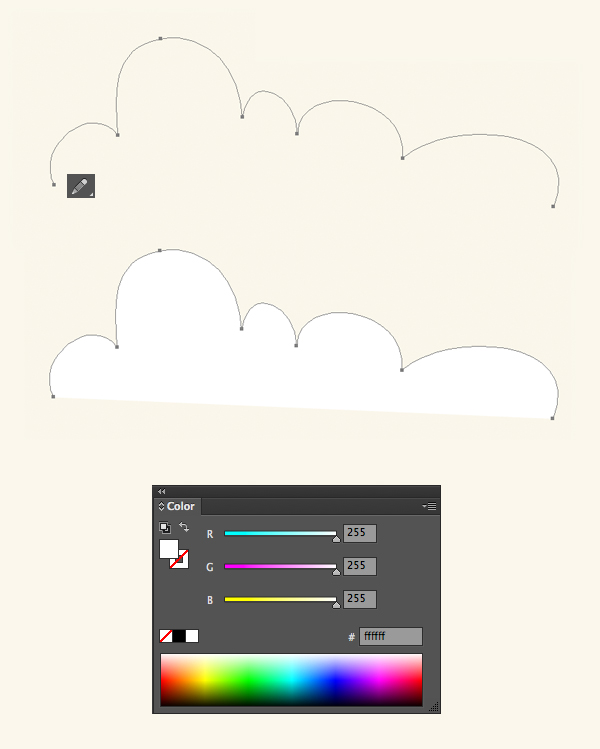 нарисуйте облако с помощью инструмента «Карандаш»